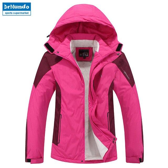 5314232c423bb Plus Size Women ski jacket women Mountain Thicken Plus fleece ski-wear  waterproof hiking outdoor