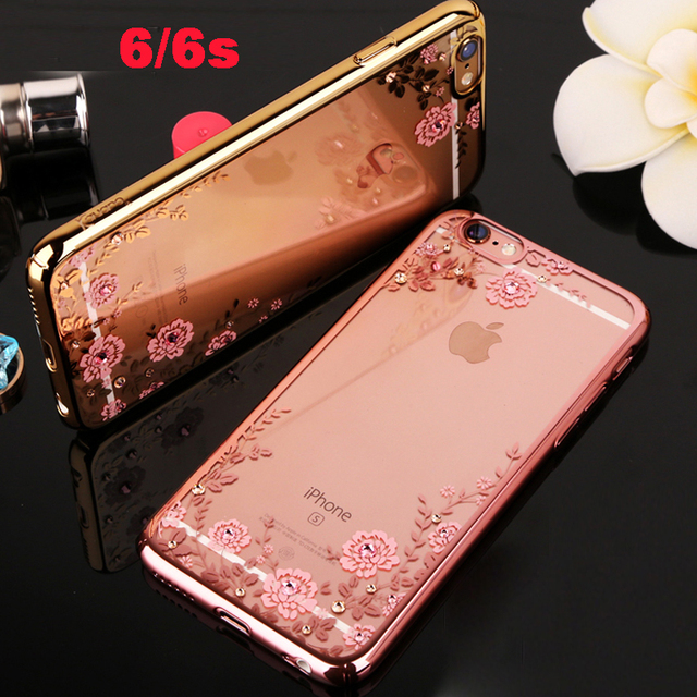 YUETUO i rose pink soft luxury phone cover case for apple iphone 6 s 6s coque Clear transparent girl diamond battery covers tpu