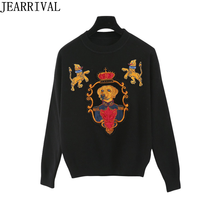 Runway Designer Knitted Sweater Women 2018 New Fashion Crown Dog Embroidery Casual Long Sleeve Pullover Plus Size Jumper Tops