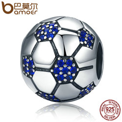 BAMOER Classic 925 Sterling Silver Sport Love Passion Of Football, Blue Clear CZ Beads fit Charm Bracelets Jewelry Making SCC217