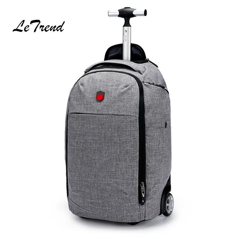 LeTrend Oxford Multifunction Travel Bag Men Business Rolling Luggage Suitcases Wheel Shoulder Bags laptop bag Men's Backpack