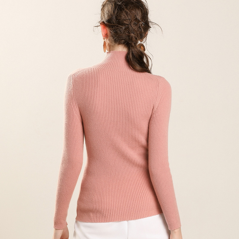 Women 100% Cashmere Pullover 2019 New Arrival Turtleneck Elasticity Sweater Female Warm Soft Basic Jumper Solid Slim Pull Femme-in Pullovers from Women's Clothing    2