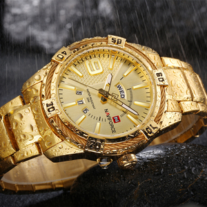 Image 4 - NAVIFORCE Luxury Brand Mens Sport Watch Gold Full Steel Quartz Watches Men Date Waterproof Military Clock Man relogio masculino