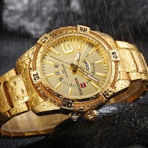 Image 4 - NAVIFORCE יוקרה מותג Mens ספורט שעון זהב מלא פלדת קוורץ שעונים גברים תאריך עמיד למים צבאי שעון איש relogio masculino