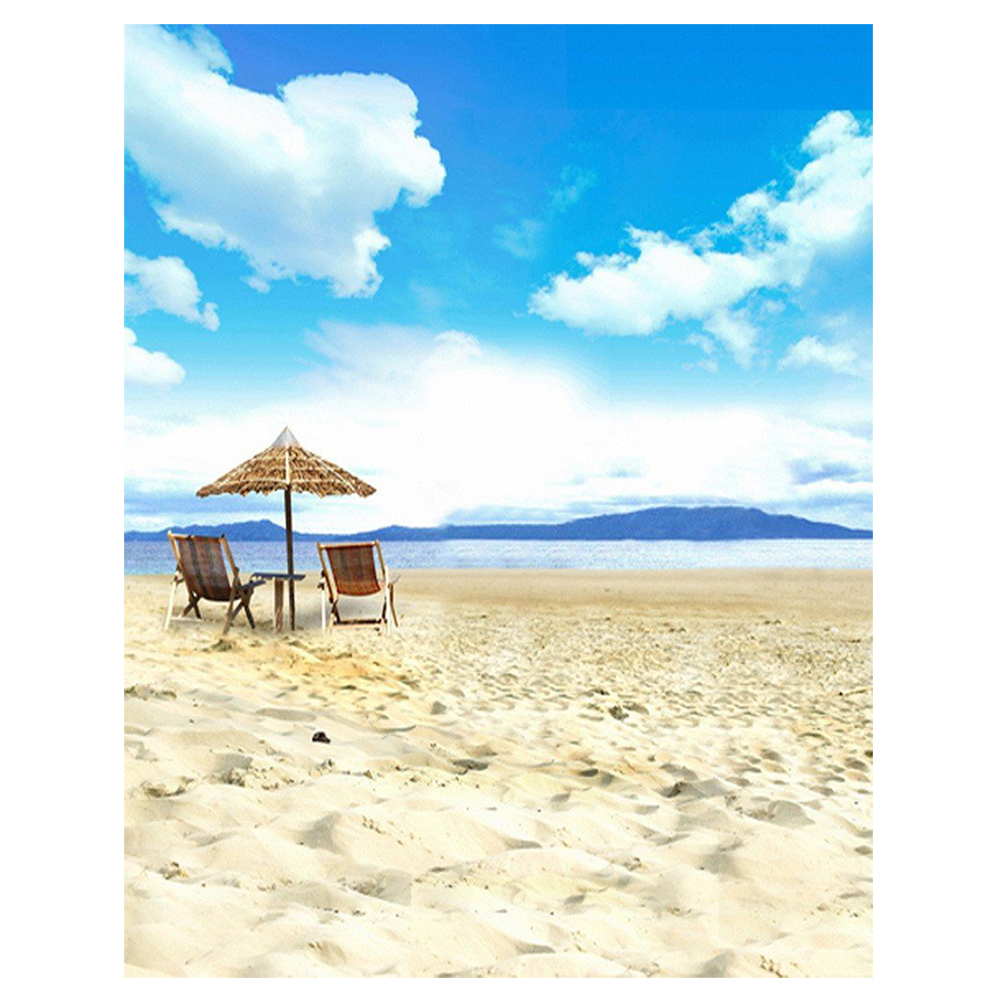 0.9x1.5m Computer Printed Fabric Vinyl Thin Photo Studio Props Photography Backdrops Blue Seaside Beach Sky Clouds Theme Sand