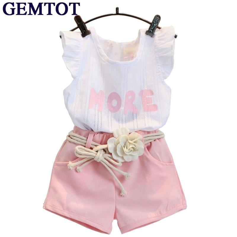 GEMTOT Baby Children Clothes Set for Girls Fly Sleeve Flower Cotton Shirt+Shorts Summer Set Sport with Belt Print Letter Clothes