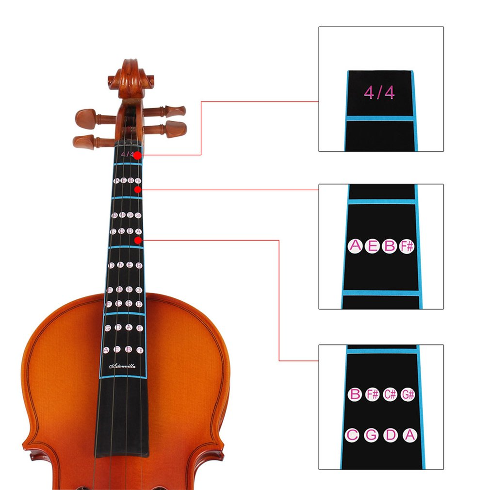 New 2Pcs 4/4 Scale Violin Fiddle Fingerboard Finger Guide Label Stickers Note Chart Black Hot Sale Dropshipping