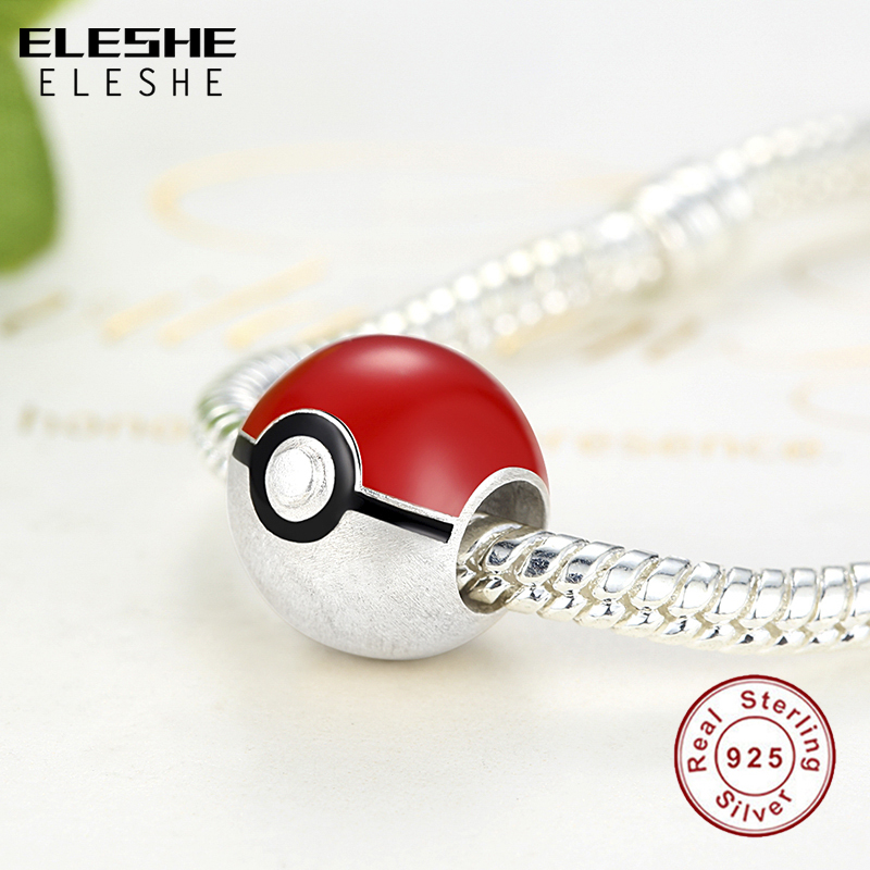 ELESHE Real 925 Pikachu Elf Bead Pokemon Ash Ball Charm Fit Pandora - Bisutería - foto 3