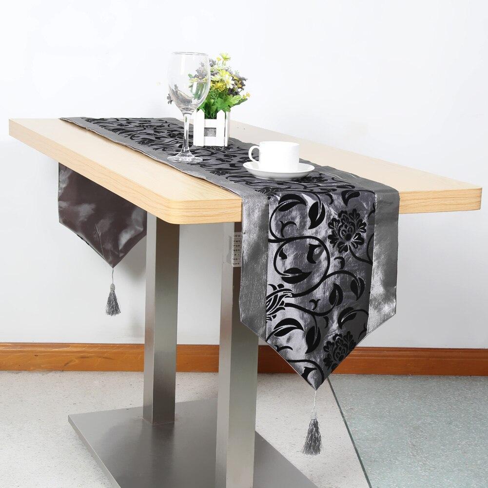 Tabelle Tuch Blume Blossom Beflockung Hochzeit Tabelle Decor Raised Blüten Beflockte Damast Tisch Läufer Tuch 200*32 cm