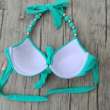 Women Bikini Push Up Halter Beads Solid Green