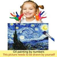 Peinture à numéros coucher de soleil au bord de l'eau 40x50 framed 6