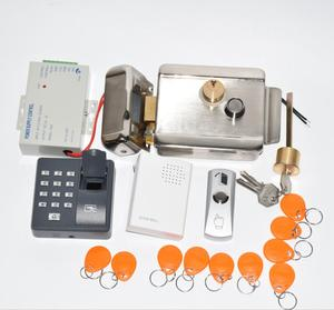 Image 2 - Gate Door Lock Access Control System Kit Electric Door Lock with Power Supply fingerprint reader exit button 10 tags