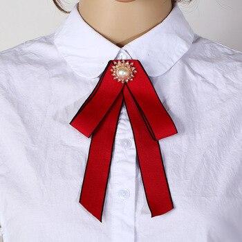 Broches de perlas de imitación a la moda para mujer, lazo largo, lazo grande, corbata, Collar de alfileres, broche, accesorios de joyería, regalos