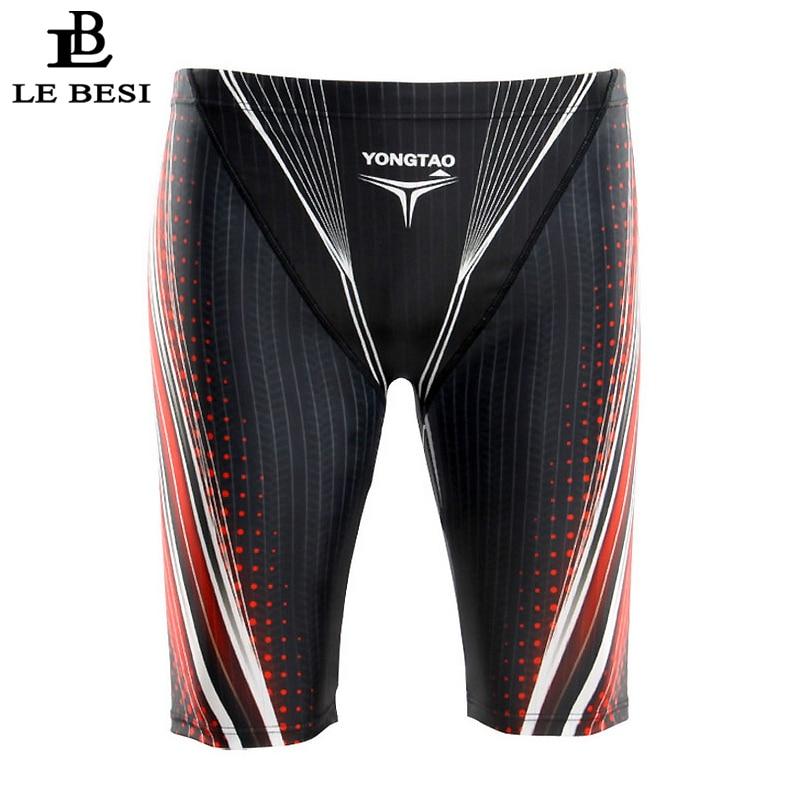 2017 LEBESI Men Professional Swimming Trunks Fifth Pants Mens Swimsuits Hight Waisted Swimwear Plus Size Sportswear Beachwear