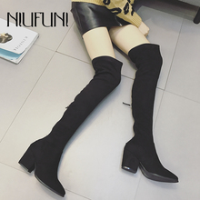 NIUFUNI Suede Women Over The Knee Boots Zipper Sexy High Heels Spring Autumn Woman Shoes Women Boots Size 35-39 Botas De Mujer недорого