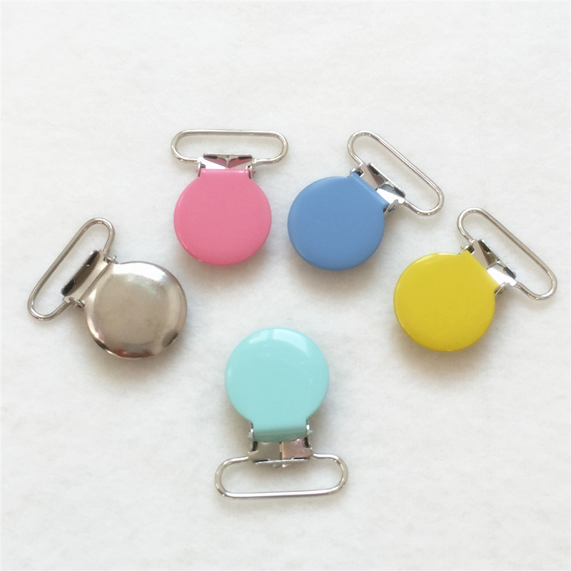 Chenkai 50pcs 1'' 25mm Round Metal Suspenders Holder Clips DIY Baby Shower Dummy Pacifier Chain Clips Toy Candy Pastel Color