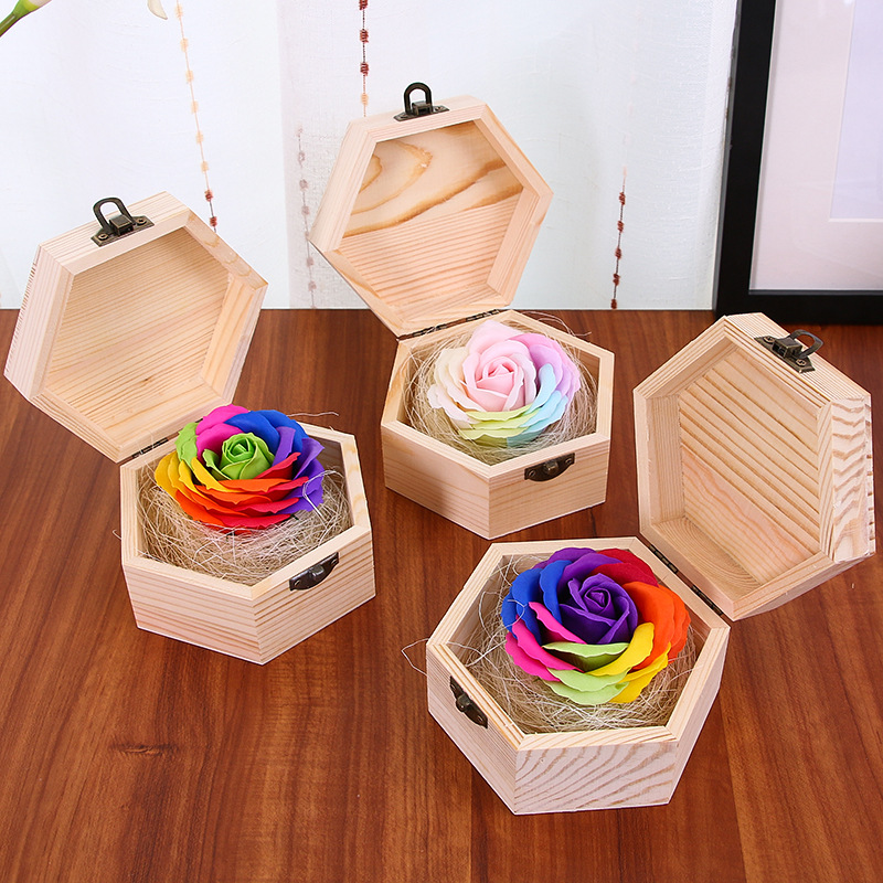 Wooden-Box Flowers Rose-Soap Gifts Presents Creative Wedding-Forever Lovers Girl Simulated