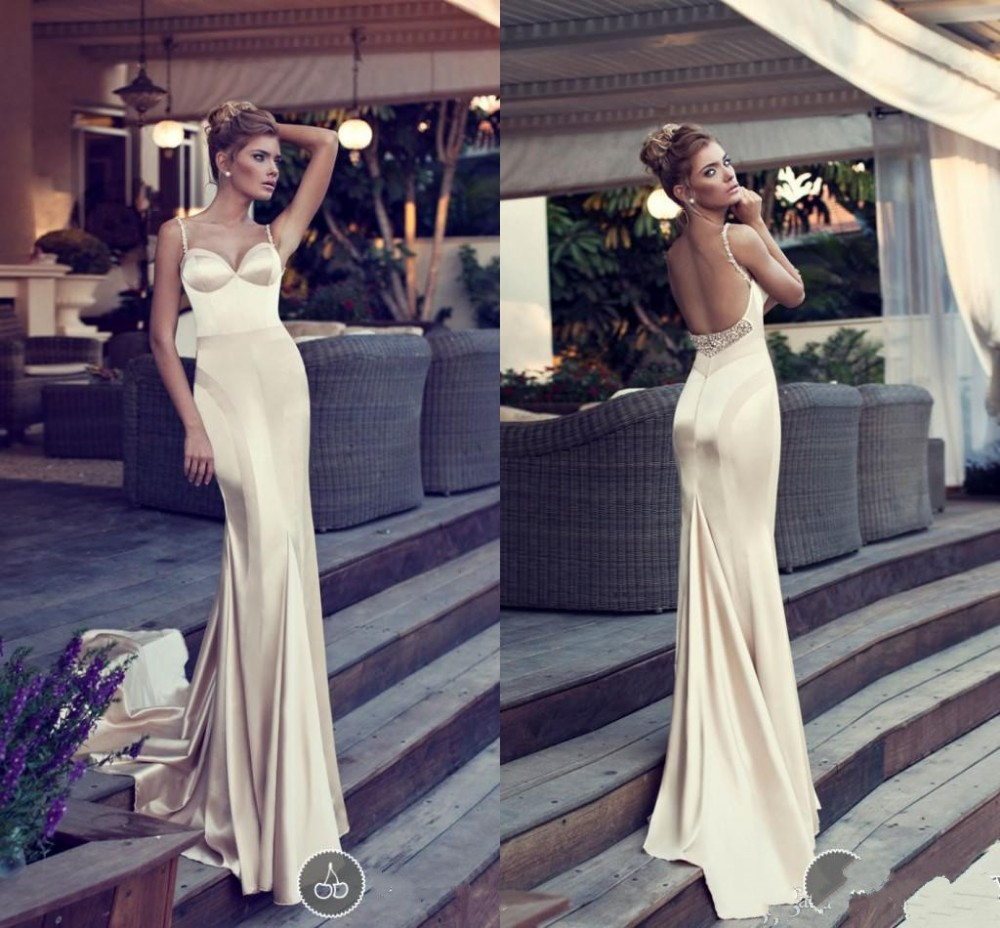 Sexy beading crystal sweetheart 2018 new hot Stain Champagne Backless Vestidos Long Cheap Prom bridal gown   bridesmaid     dresses
