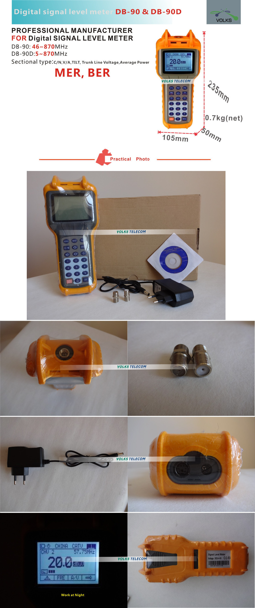 QAM CATV Digital MER, BER Signal Level Meter
