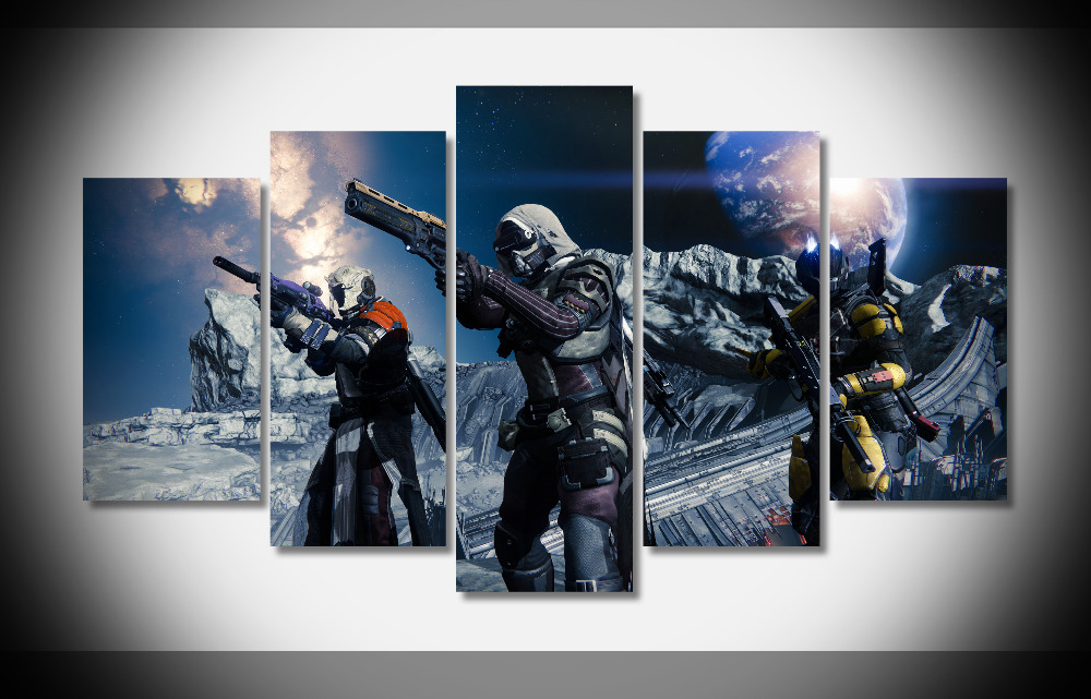 6717 Destiny Game Mmofps Sci Fi Space Weapon Planet Gun Soldier Poster Framed Gallery Wrap Art