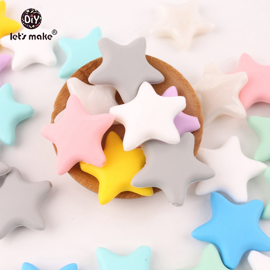 Let's Make Silicone Beads 50pcs Star Cartoon Teething DIY Necklace Made Accessories BPA Free Food Grade Teether Baby Teether