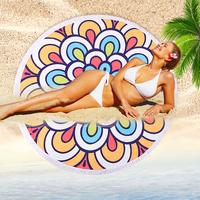 Battilo Beach Towel Round Tapestry Wall Hanging Boho Gypsy Tablecloth Yoga Mat Rugs Diameter 59inch