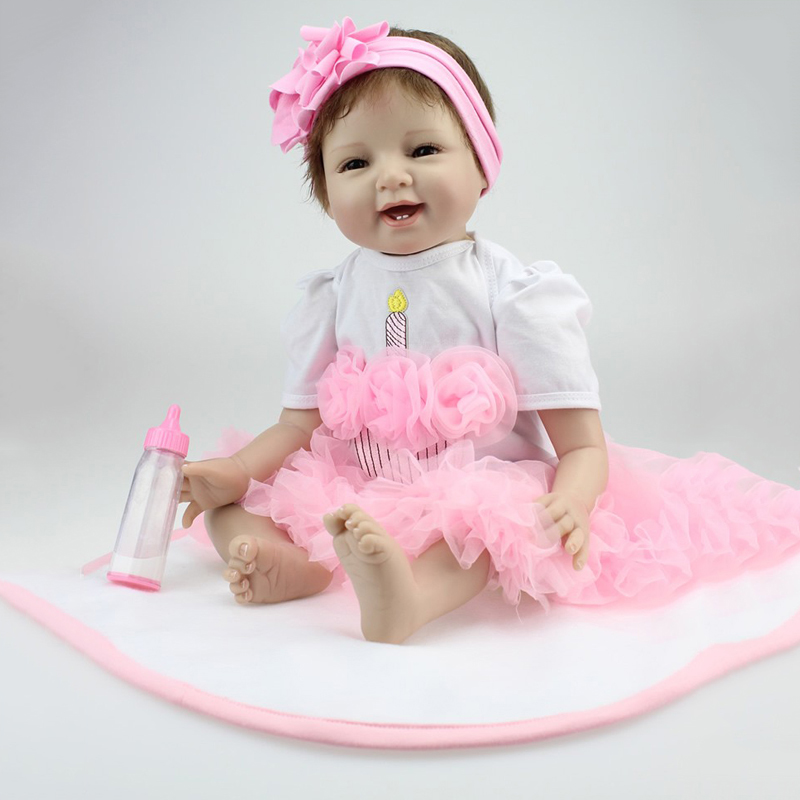 NPKCOLLECTION Baby Dolls Silicone Reborn Doll Girl Boy Sleeping Toys Early Education Dolls Pink Princess Birthday Gift Kids Toy