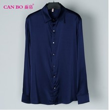 A large number of men's fat heavy silk shirt sleeve to add fertilizer to increase loose silk shirt color 3