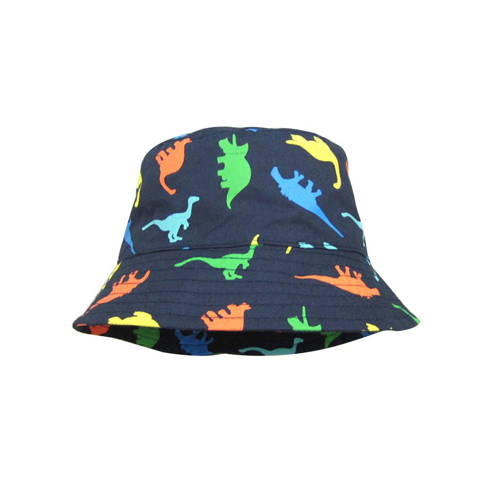 Blue Children Boy Sun Hat Summer Cotton Bucket Cap Baby Kids Animal Dinosaur Sunhat