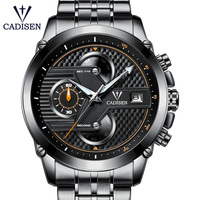 2018 New Hot Men Watch Quartz Top Brand CADISEN Luxury Sport Casual Mens Watches Stainless Steel