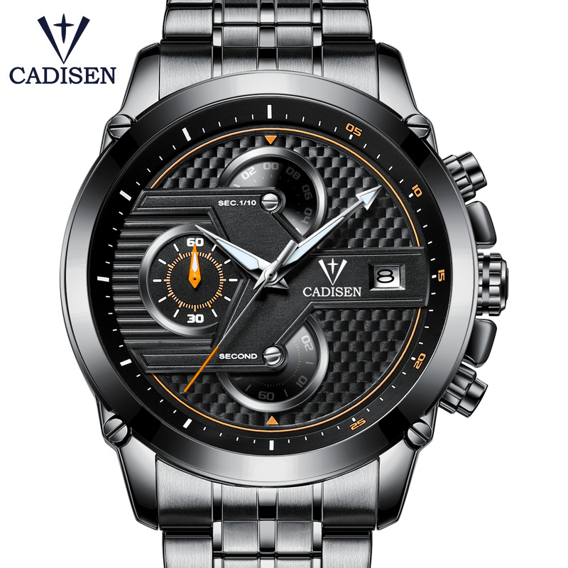 2018 New Hot Men Watch Quartz Top Brand CADISEN Luxury Sport Casual Mens Watches Stainless Steel Waterproof Wristwatch
