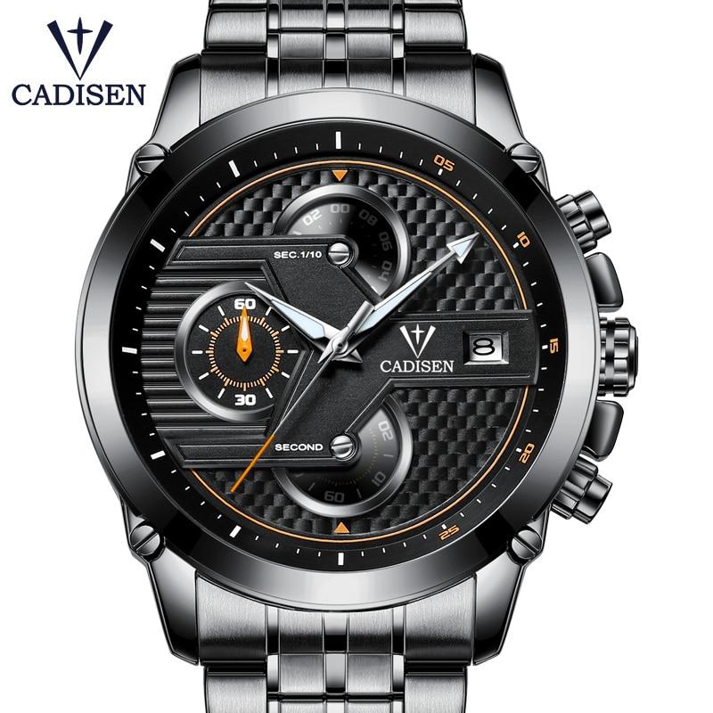 2018 New Hot Men Watch Quartz Top Brand CADISEN Luxury Sport Casual Mens Watches Stainless Steel Waterproof Wristwatch