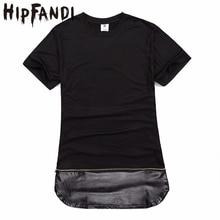 HIPFANDI Mens T shirts Fashion 2017 Summer T shirt Men leather patchwork T-shirt side zipper design Hip Hop swag Clothes