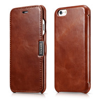 ICARER Slim Phone Case For iPhone7 8 Vintage Genuine Leather Protective Magnet Flip Cover Case For iPhone 6 6S Shell Black Brown