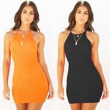 12c5a4ab89 Las mujeres Sexy sin respaldo Spaghetti Correa vestido de verano 2018  Algodón elástico Bodycon negro amarillo Mini vestidos