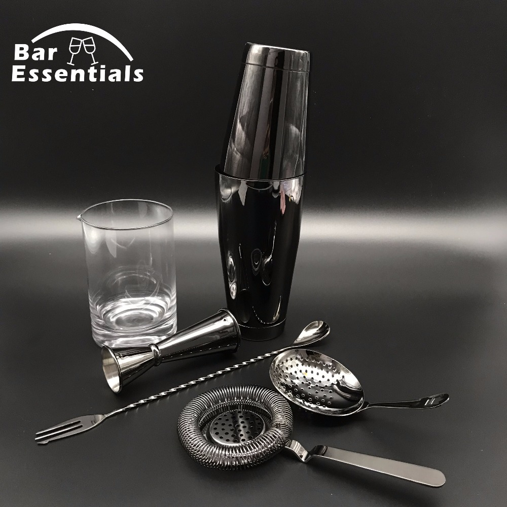 Free Shipping Premium 6 Piece Bar Set Boston Cocktail Shaker Bartending Set Including Mixing Glass