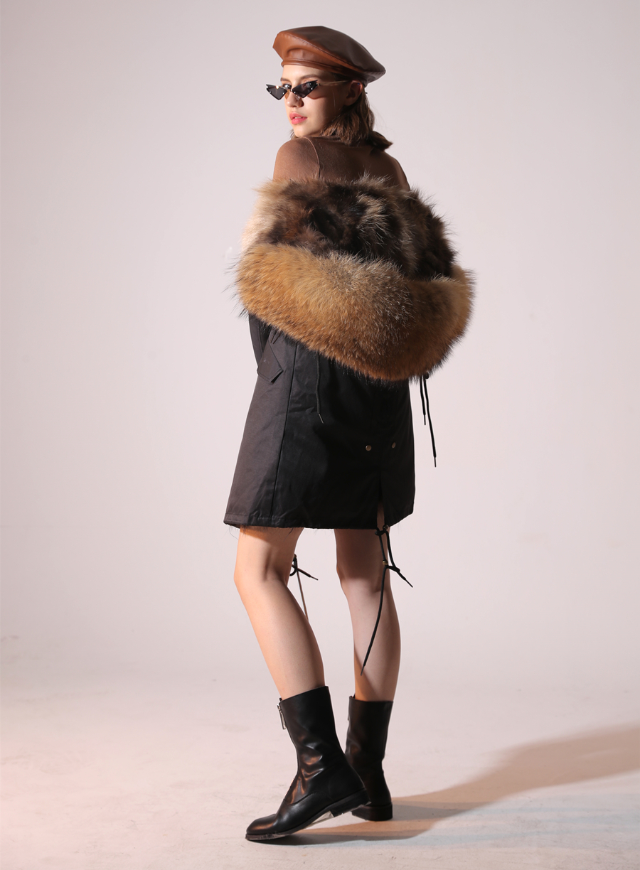 2019 Real Fur Coat Winter Jacket Women Long Parka Waterproof Big Natural Raccoon Fur Collar Hood Thick Warm Real Fox Fur Liner 45