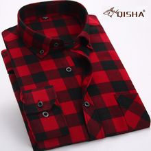 2017 New Men Flannel Casual Plaid Shirt Men Slim Fit Dress Long Sleeve Shirts Male Wear Brand Clothing Red and black shirts  4XL