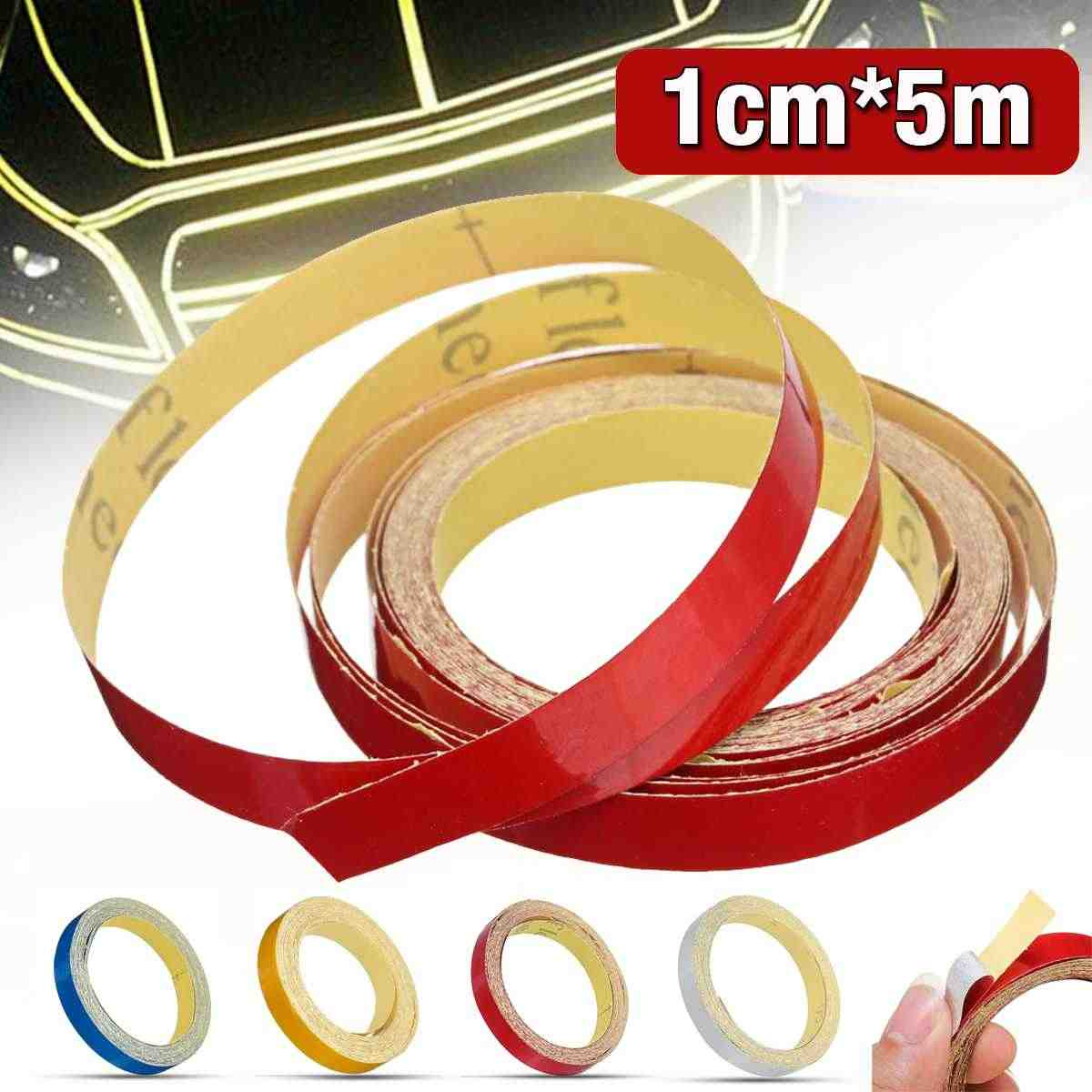 1 cm * 5 m Glossy Motorhelm Reflecterende Decoratieve Veiligheid Tape DIY Sticker Decal Roll Strip Motorfiets Auto reflector Tap