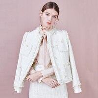 Элегантный переплетения белый твидовый пиджак пальто для женщин пуговица с жемчугом кисточкой верхняя одежда 2019 Новое поступление весна с