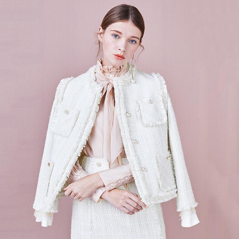 Elegant Weave White Tweed Jacket Coat Women Pearls Button Tassel Outwear 2019 New Arrival Spring Long Sleeve Women Jacket