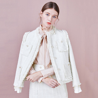 Elegant Weave White Tweed Jacket Coat Women Pearls Button Tassel Outwear 2019 New Arrival Spring Long Sleeve Women Jacket