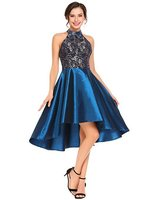 Fashion Halter Cocktail Dresses Women Lace Asymmetrical High/Low Sleeveless Short Party Gowns Vintage vestidos coctel mujer 2018