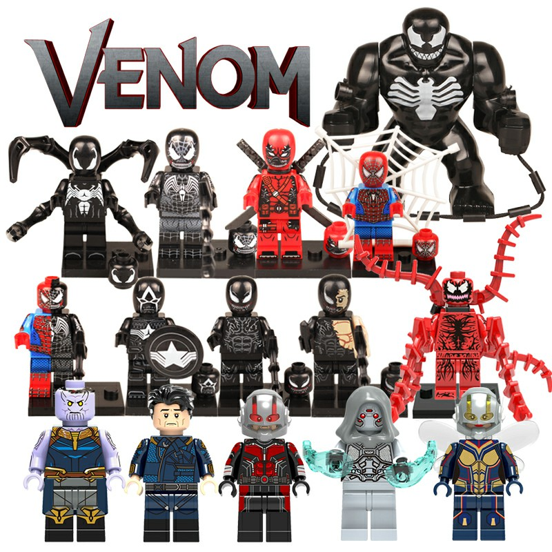 DIY Single Action Figure Marvel  Venom Venompool Carnage Super Heroes Spiderman Ant-man Wasp Building Blocks Toys Batman(China)