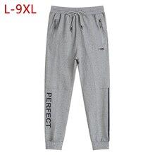 L-9XL мужские хлопковые тонкие спортивные штаны Весна Осень большой размер мужские свободные эластичные прямые брюки спортивный костюм мешковатые джоггеры брюки CF199