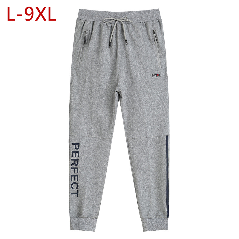 L-9XL Men Cotton Thin Sweatpants Spring Autumn Big Size Male Loose Elastic Straight Pants Tracksuit Joggers Baggy Trousers CF199