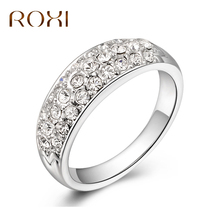 ROXI Brand Rings For Women Rose Gold Color Inlaid Zircon Crystal Rings Wedding Band Charm Fashion