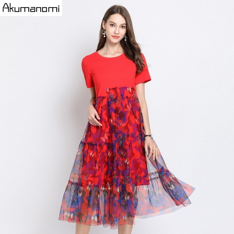 Summer Dress Women 2019 Plus Size O neck Short Sleeve Mid calf Floral Mesh Patchwork Party
