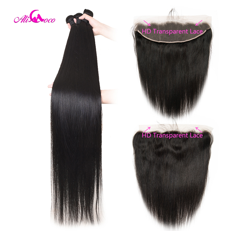 Ali Coco 30 32 34 36 38 Inch Long Hair Bundles With 13x4 HD Transparent Lace