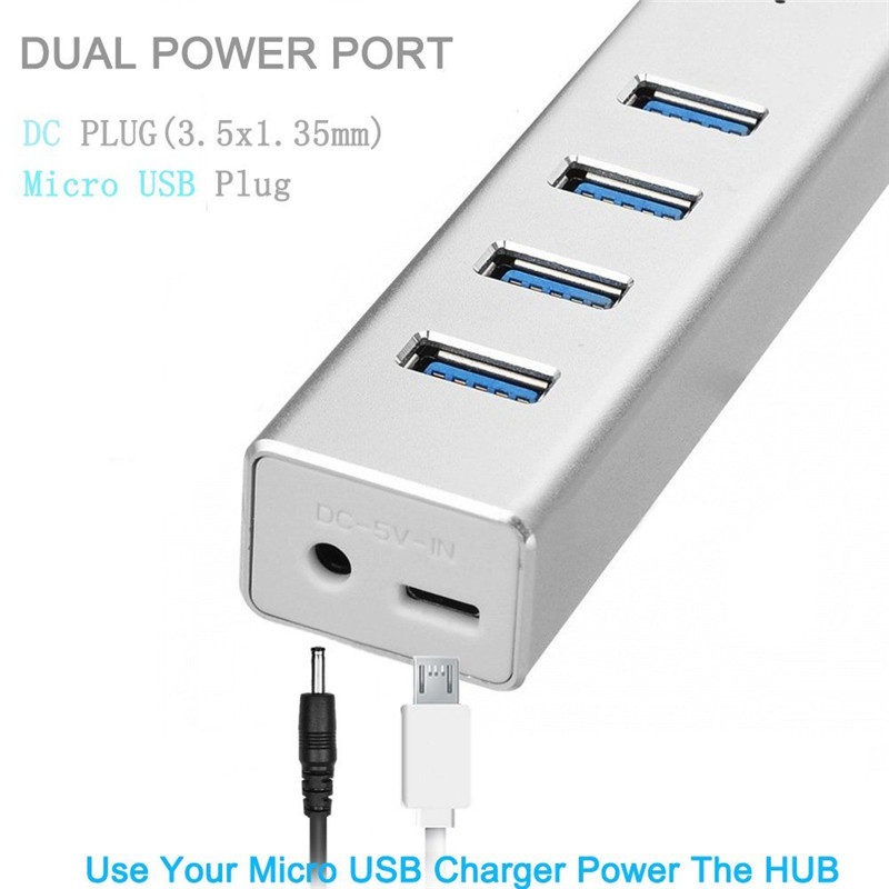 BinFul New Aluminium Portable USB Hubs 4 Port USB 3.0 Hub Splitter Adapter 5Gbps for PC Mac Laptop Notebook Desktop High Speed